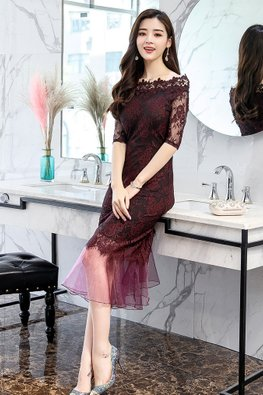 Lilac / Plum Off-Shoulder Elbow Sleeves Lace Mermaid Dress