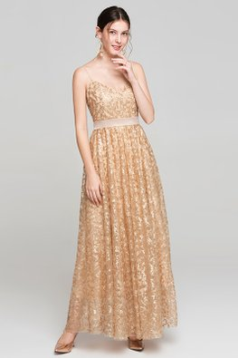 Champagne V-Neck Sequin Embroidery A-line Dress
