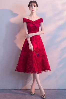 Wine Red/Red Off-Shoulder Lace A-line  Gown