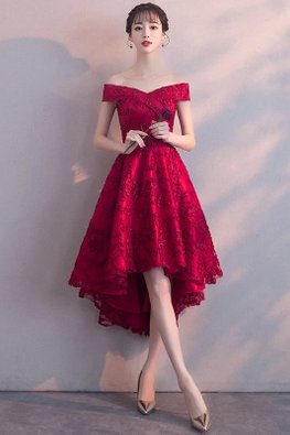 Wine Red/Red Off-Shoulder Lace Hi-Lo Gown