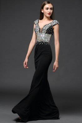 Black Deep V Cap Sleeves Gem Trumpet Sweep Train Gown (Express)