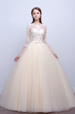 Champagne Illusion Lace Neckline 3/4 Sleeves Open Back Wedding Gown