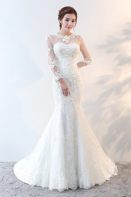 Illusion Lace Neckline Long Sleeves Open Back Wedding Gown