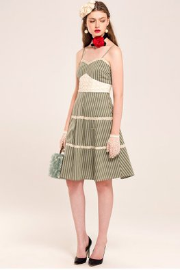 Green Sweetheart Neckline Striped A-line Dress
