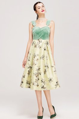 Green/Yellow 2 Way Off-Shoulder Strap Floral A-line Dress