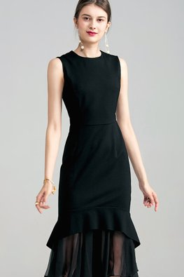 Black Jewel Neckline Mesh Mermaid Dress (Express)