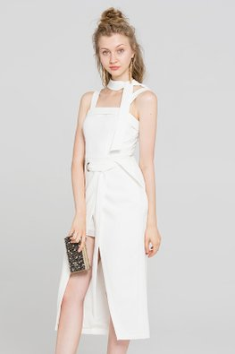 White Square Neckline Front Slit Dress