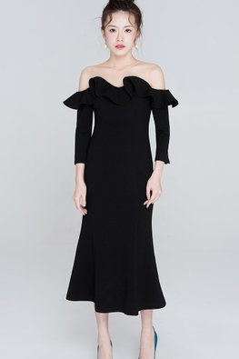 Black Illusion Neckline Ruffled Off-Shoulder 3/4 Sleeves Dress