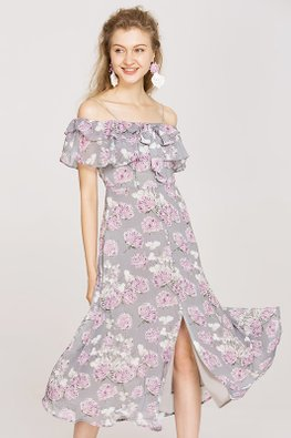 Purple Ruffled Open Shoulder Floral Slit Dress