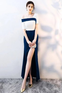 Assorted Colours Single Off-Shoulder High Slit Gown