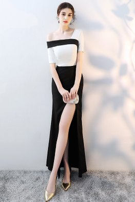 Assorted Colours Single Off-Shoulder High Slit Gown