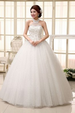 Halter Neckline Gem Twinkle Skirt Wedding Gown