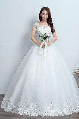 Illusion Neckline Cap Tassels Sleeves Floral Lace Wedding Gown