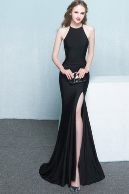 Assorted Colours Halter Neck Cut Out Back High Slit Gown
