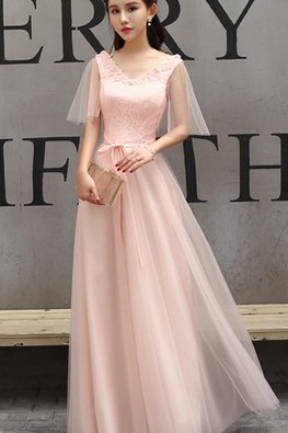 Pink V-Neck Sheer Open Sleeves Lace Gown