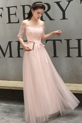 Pink Off-Shoulder Elbow Sleeves Lace Gown