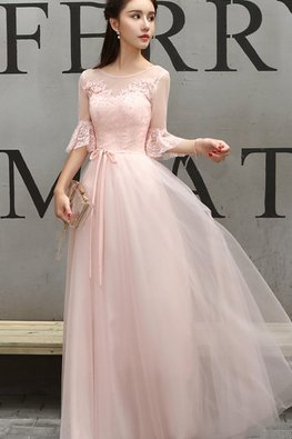 Pink Illusion Neckline Trumpet Sleeves Lace Gown