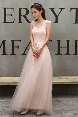 Pink Illusion Neckline Sleeveless Lace Gown