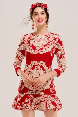 Red Jewel Neckline 3/4 Sleeves Embroidery Mermaid Dress