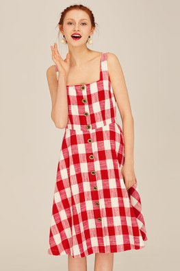 Red White Square Neck Checkered A-line Dress