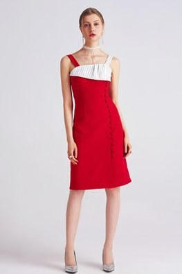Red White Square Neck Sheath Dress