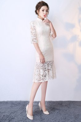 White Mandarin Collar Lace Mermaid Cheongsam