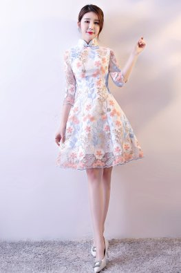 White Mandarin Collar Floral Embroidery A-line Cheongsam (Express)