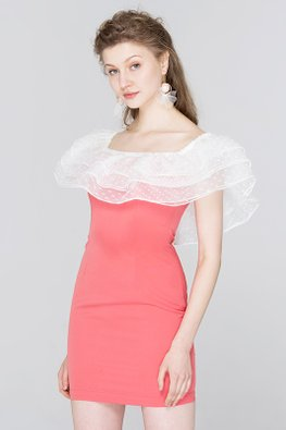Watermelon Red White Off-Shoulder Sheath Dress