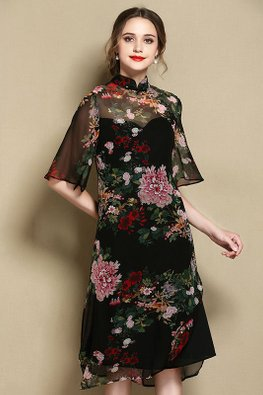 Black Mandarin Collar Floral Mesh Hem Cheongsam