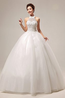 Halter Neckline Gem Applique Twinkle Skirt Wedding Gown