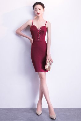 Maroon/Black Sweetheart Beaded Sheath Dress