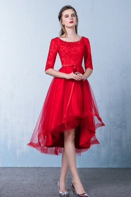 Red/Wine Red Bow Elbow Sleeves Lace Hi-Lo Gown