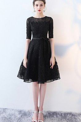 Assorted Colours Illusion Neckline Elbow Sleeves Lace A-Line Dress