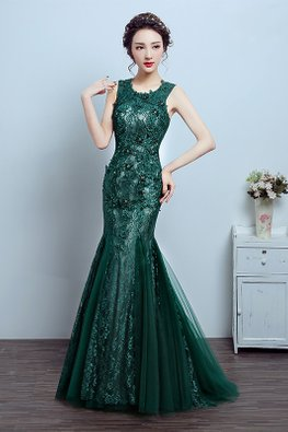 Green Round Neck Sleeveless Lace Floor Length Mermaid Gown