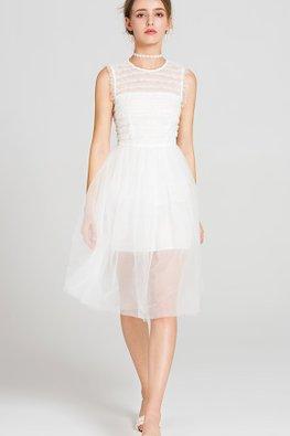 White Jewel Neckline Mesh Hem A-line Dress