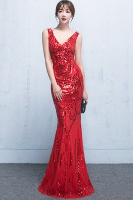 Assorted Colours V-Neck Sleeveless Sequin Floor Length Mermaid Gown