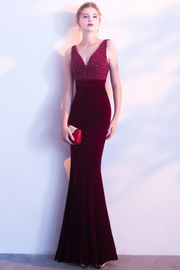 Assorted Colours V-Neck Beads Open Back Floor Length Mermaid Gown