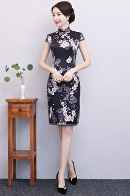 Black Mandarin Collar Cap Sleeves Floral Side Slit A-line Cheongsam