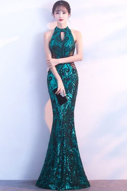 Assorted Colours Halter Keyhole Neckline Sequin Floor Length Mermaid Gown