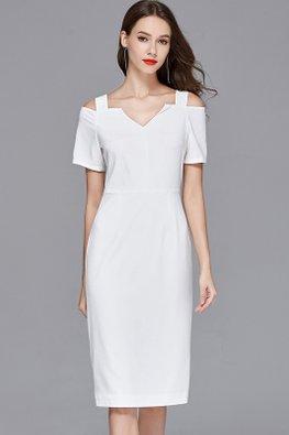 White V-Neck Open Shoulder Column Dress
