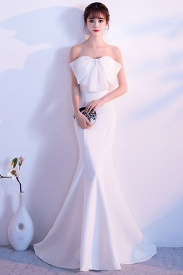 Assorted Colours Tube Bow Floor Length Mermaid Gown