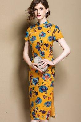 Mustard Mandarin Collar Floral High Slit Cheongsam