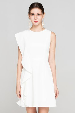 White Round Neck Sleeveless Ruffle A-line Dress