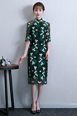 Dark Green Mandarin Collar Elbow Trumpet Sleeves Floral Embroidery Cheongsam