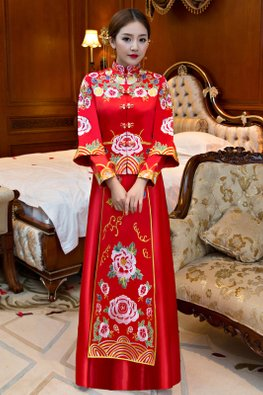 Red Double Sleeves Lotus Chinese Knots Traditional Kua