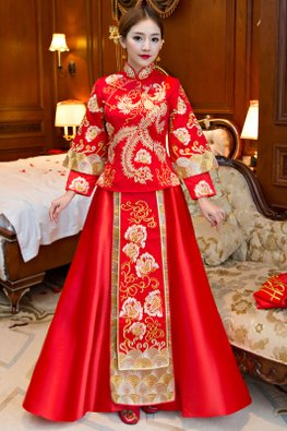Red Double Sleeves Gold Pheonix Traditional Kua