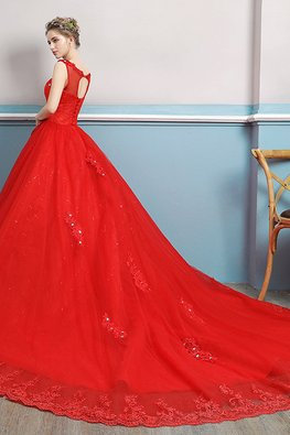 Red Illusion Neckline Applique Open Back Lace Hem Gown with Chapel Train