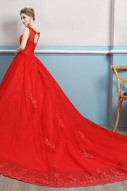 Red Illusion Neckline Applique Open Back Lace Hem Gown with Chapel Train