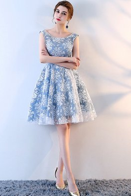 Blue Bateau Neckline Lace A-Line Dress