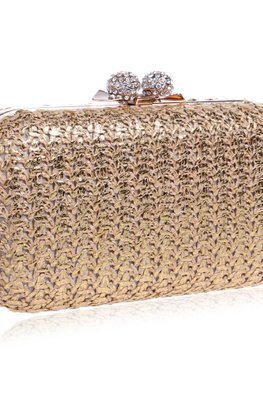 Mixed/Gold Stitch Pattern Clutch Bag